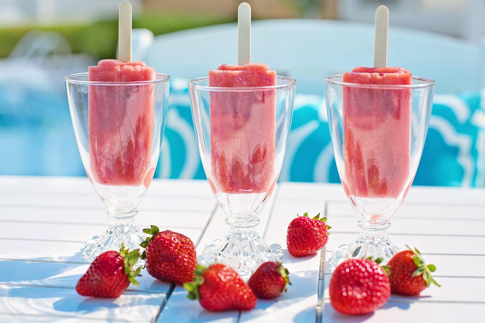 ghiaccioli e fragole
